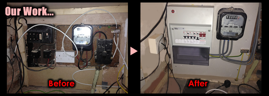 Before and After images of Electrical work by West London Electrician